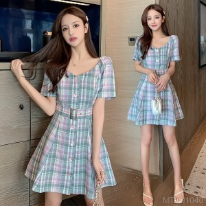 2020 new temperament slim waist check dress fashion suit