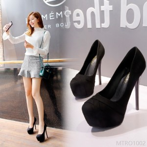 2020 new ultra high heel women's fine heel waterproof platform round head spring and autumn