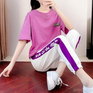 2020 new Korean version of loose sports and leisure printing running suit