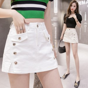 2020 new Hong Kong style rivet split high waist wide leg stretch nightclub shorts