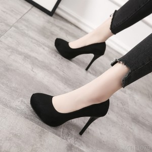 2020 new high-heeled fine-heeled work shoes women 10CM black fashion waterproof platform women's shoes 2019 spring suede