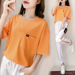 2020 new fashion loose short sleeve running clothes casual two-piece suit