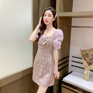 2020 new plaid short-sleeved dress female tide single piece