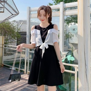 2020 new fake two-piece wide loose cotton dress