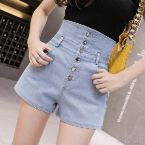 2020 new breasted shorts stretch fashion slim wide leg hot pants