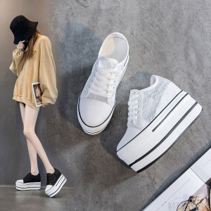 2020 new hollowed-out breathable heightened single shoes Korean version