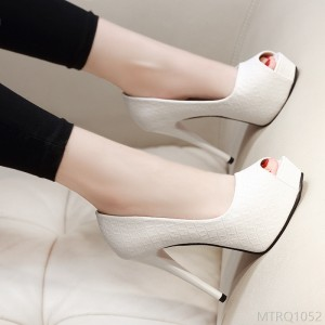 2020 new fine heel waterproof platform work shoes white wedding shoes synthesis