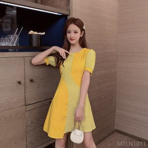 2020 new stitching slim waist dress