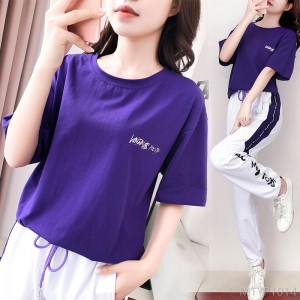 2020 new cotton sports suit year female Korean version loose fashion casual two-piece suit