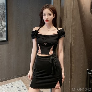 2020 New Sexy Lace Hyuna Top + Skirt Two Piece Set