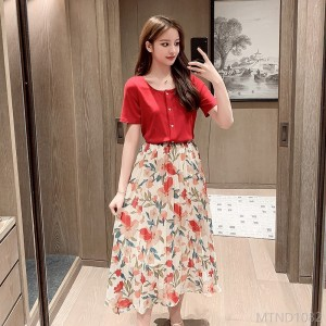 2020 new royal sister style floral chiffon skirt suit