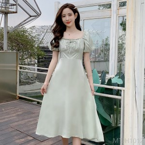 2020 new comfortable high waist dress long skirt lantern sleeve short sleeve