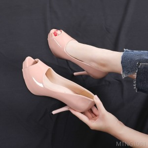 2020 new fine heel single shoes women's nightclub waterproof platform patent leather women's shoes shallow mouth