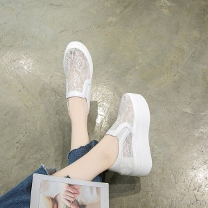 2020 new casual single shoes lace elastic band increased shoes