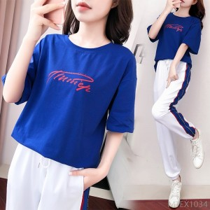 2020 new sports suit women's fashion loose Korean casual pants two-piece suit