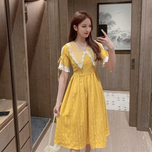 2020 new waisted egg yolk dress v-neck skirt