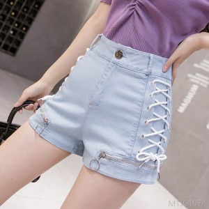 2020 new self-cultivation strappy pants ergonomic zipper design sense A word high waist pants tide