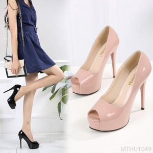 2020 new fine heel waterproof platform shoes single shoes two layers of pigskin patent leather