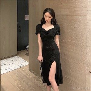 2020 New Celebrity Split Long Skirt French Retro Sexy Dress