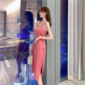 2020 New Bow Satin Long Sling Dress