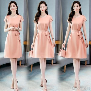 2020 new comfortable short-sleeved mid-long summer solid color
