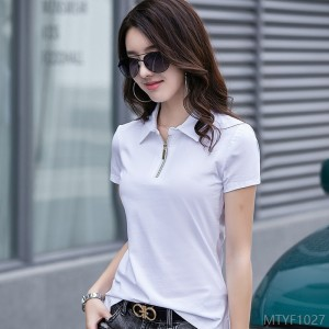 2020 new Korean version of ol apparel zipper ladies half-sleeved singlet cotton