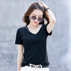 2020 new 80-piece mercerized cotton tops V-neck stitching