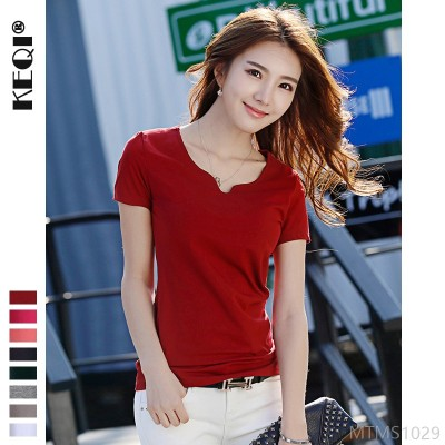 2020 new solid color simple large size cotton short-sleeved female T-shirt