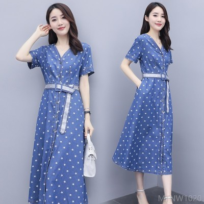 2020 new trendy comfortable fashion dress with elegant personality X-shaped denim