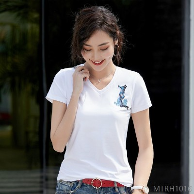 2020 new short-sleeved t-shirt summer beaded solid color top