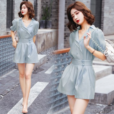 2020 New Fashion Suit/Skirt Short Sleeve Year Summer Solid Color Personality Elegant