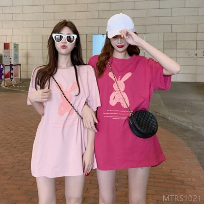 2020 new loose mid-length net red super fire pink T-shirt