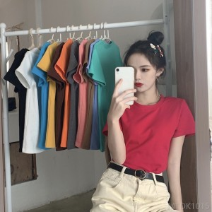 2020 new Korean version of the candy round neck top female loose loose bottoming shirt