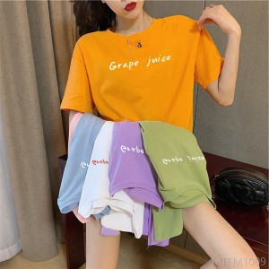 2020 new candy color letter printing new women's short-sleeved T-shirt