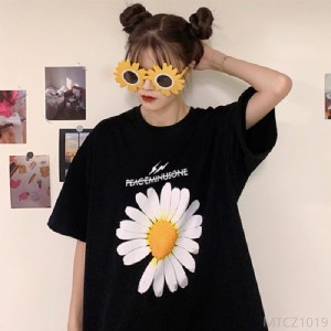 2020 new European goods large version short-sleeved t-shirt Daisy BF wind long section
