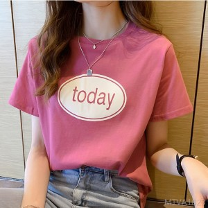 2020 new short-sleeved t-shirt female early spring Korean version of loose printing