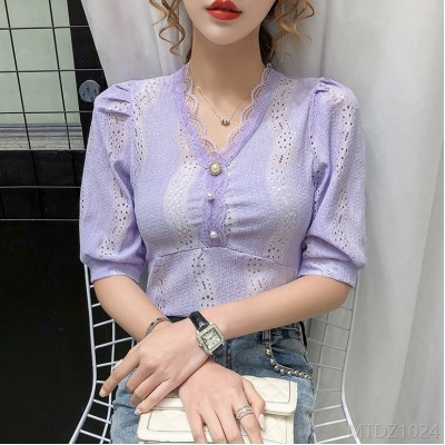 2020 new Korean version ins super hot summer stitching lace V-neck puff sleeves