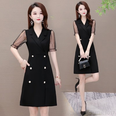 2020 new temperament is thin polka dot mesh stitching French dress large