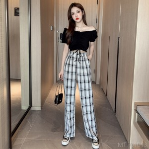 2020 new black and white plaid wide leg pants wide leg pants + top