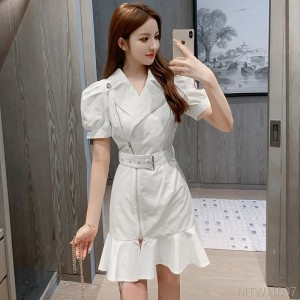 2020 new asymmetric white zipper belt fishtail dress