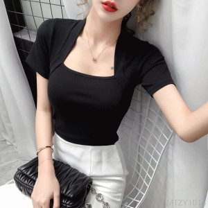 2020 new clavicle top sexy slim solid color bottoming shirt for women
