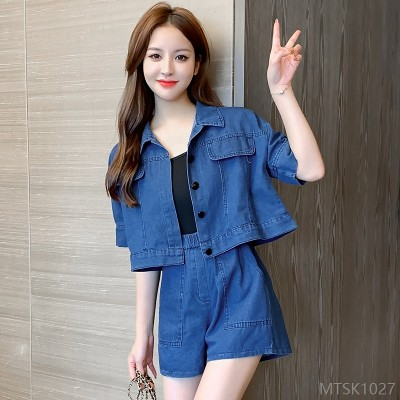 2020 new loose denim short jacket with wide-leg casual shorts suit