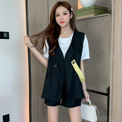 2020 new Hong Kong style suit casual style suit vest fashion T-shirt shorts three-piece suit