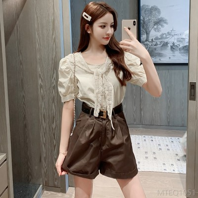 2020 new temperament lace stitching lace shirt shorts two-piece suit
