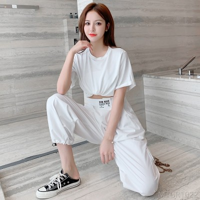 2020 new elastic waist overalls casual all-match drawstring trousers
