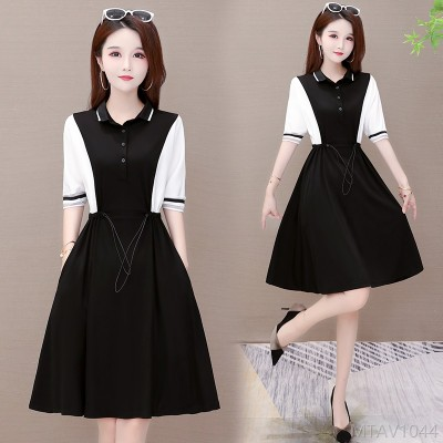 2020 new slim a-line skirt collar stitching contrast dress