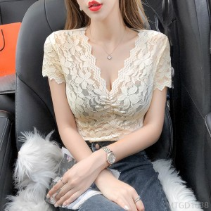 2020 new sexy hollow out all-match short-sleeved women's t-shirt foreign style ins tide