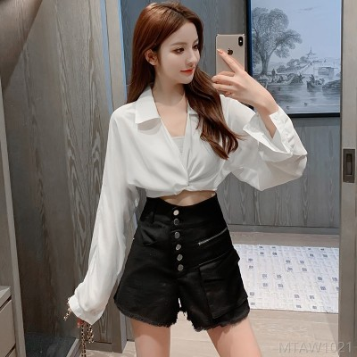 2020 new sunscreen high waist single breasted denim shorts two-piece suit