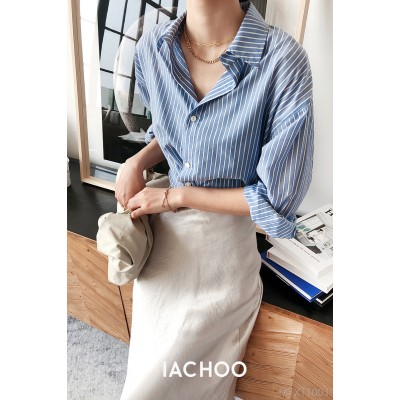 2020 new iachoo French retro blue and white striped cupro shirt