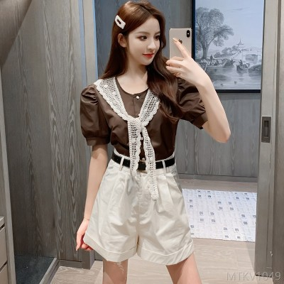 2020 new quality lace stitching lace shirt shorts two-piece suit